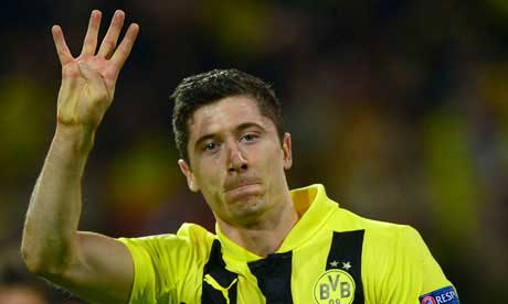24.04.2013. Champions League 2013: Robert Lewandowski autore di quattro reti al Real Madrid